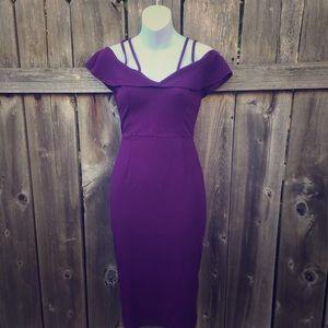 Plum Color Cold Shoulder Pinup Pencil Dress